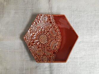 レース模様の六角小皿<オータムブラウン>の画像