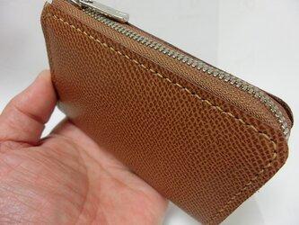 コンパクトL字ファスナー財布(牛革 キャメル)の画像