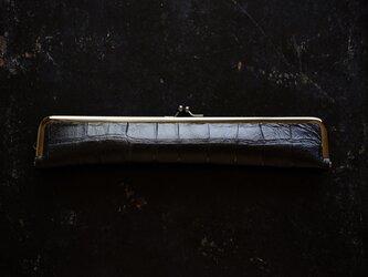 ダンディな紳士用扇子ケース/24cm/クロコ型押しMatteBlackの画像