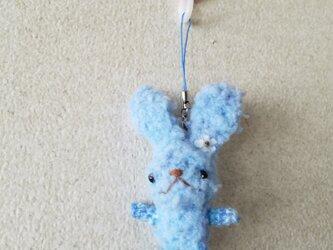 モコモコちびウサの編みぐるみストラップ3の画像