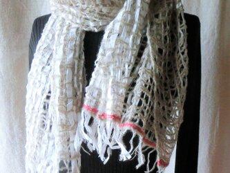 リネン・ウール・コットンテープの手織りストール <赤いライン>の画像