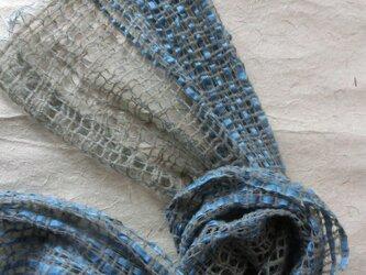 リネン・ウール・コットンテープの手織りストール <本藍染>の画像