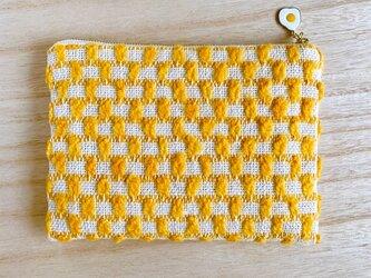 路地裏 手織りポーチ オレンジ コットンの画像