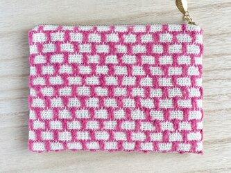 路地裏 手織りポーチ ホットピンク コットンの画像
