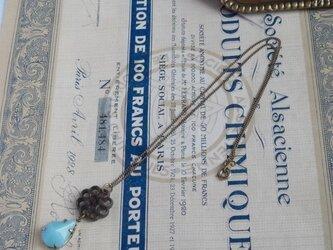 送料無料! フランスアンティークボタン&グラスストーン ネックレスの画像