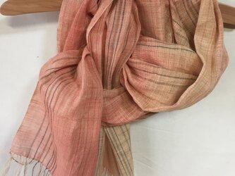 手紡ぎ糸・草木染めのストール M25-②の画像