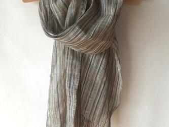 手紡ぎ糸・草木染めの大判ストール M26-①の画像