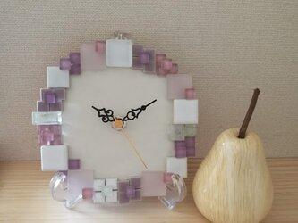 "★early summerセール★タイルの置き時計・壁掛け時計 ""Ajisai Pink"" 1006 の画像"