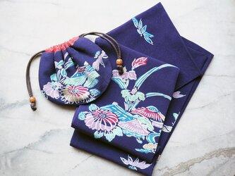 K's あやめとダリアの紫のスカーフ、巾着ポーチのセット-紅型着物地(古布)からの画像