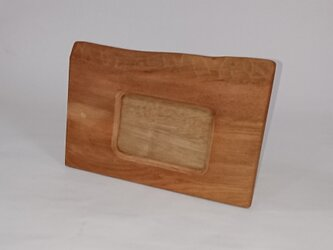 【送料無料】素朴な味わいの木製フォトフレーム L判・はがきサイズ 柿渋塗り【1点もの】の画像