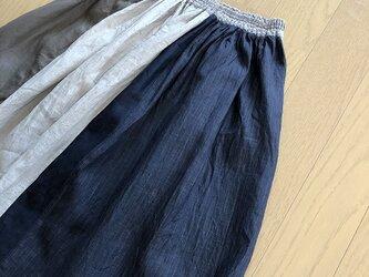 リネンのパッチワークスカート M~Lの画像