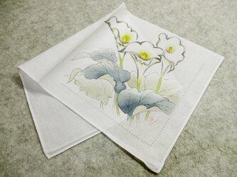綿ハンカチ・ピコ刺繍付き(カラー)の画像