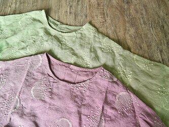 【受注製作】刺繍!可愛リネン麻製トップス・ブラウス82209 2色の画像