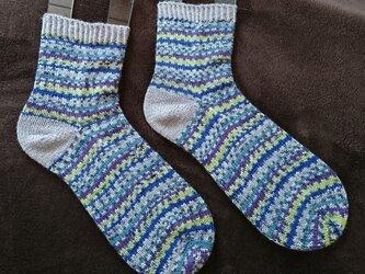 手編み靴下 S+S indigoの画像