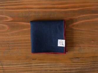 【受注製作】本藍染めオーガニックリネンハンカチ(無地:藍色)の画像