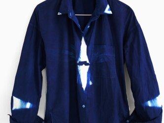 ◆100%自然素材 天然灰汁発酵建て 本藍染◆ 型染め GIZAコットンシャツ ~ブランド『美ひめMihime』~の画像