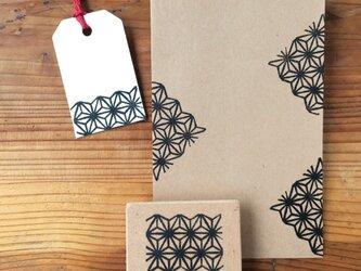 正方形 和柄消しゴムはんこ(麻の葉)の画像