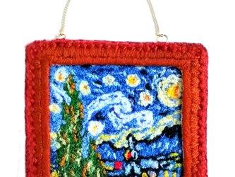 【展示品】刺繍絵画のオーナメント:ゴッホの星月夜の画像