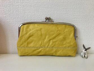 ふっくらマチ付き本革親子がま長財布(くしゅくしゅ黄色レザー)の画像
