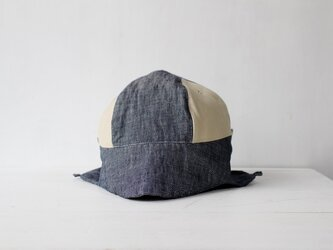"""hand-sewn"" DEERCAP | LINEN×LEATHER c/#st.white【M】の画像"