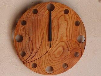 無垢の木の電波掛け時計 けやき 0067の画像