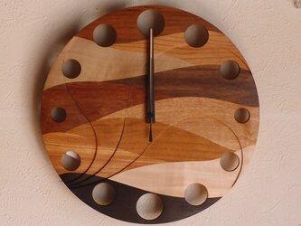 無垢の木の電波掛け時計 ウェーブ 0015の画像