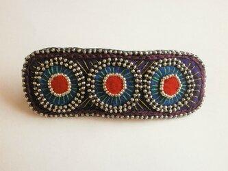フェルト&ビーズのエスニック風刺繍バレッタ(ブルー)の画像