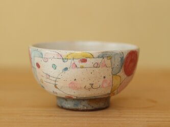 K様オーダー分 粉引きカラフルドットとトイプードルとはちのお茶碗の画像
