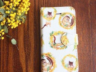 【受注販売】ミモザリースのリス 手帳型スマホケースの画像