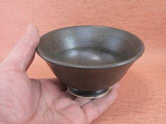 陶器ご飯茶碗(中)黒来待釉 【190422】の画像