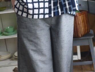 久留米絣グレー杢からシンプルパンツの画像