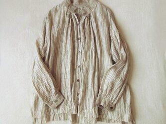 リネン ダブルワッシャー・ピンストライプ・ギャザー ワイドシャツの画像