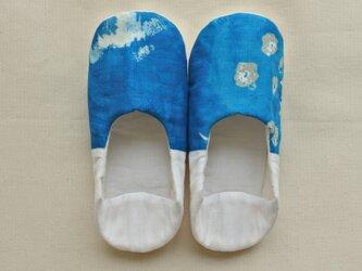 海の青 ルームシューズ  バブーシュ スリッポン M-L ブルー×ホワイト Cの画像
