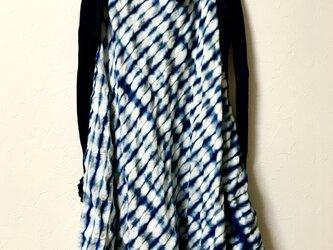 藍染コットンワッフル チュニックの画像