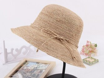 natural元色/茶色/紺 3色の選択 リボンの飾り 麦わら帽子の画像