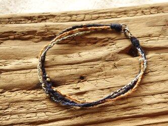 三連ブレスレット(藍/橙)の画像