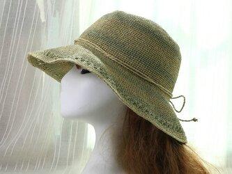 植物の緑 ストライプ 透かし編み模様の麦わら帽子の画像