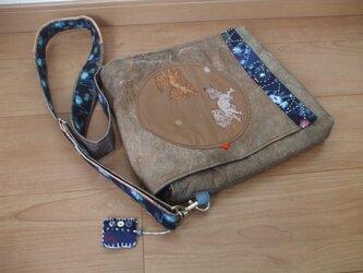 獅子柄柿渋鉄媒染と絣の別ポケットのショルダーバック 木綿の画像