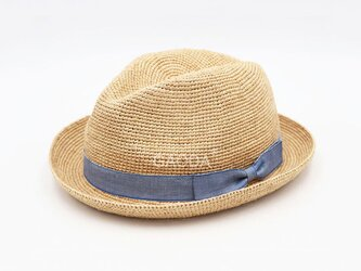 ファッションの蝶リボン飾り 手作りの麦わら帽子 大人用の画像
