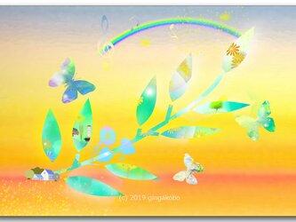 「虹と蝶」 ほっこり癒しのイラストポストカード2枚組No.754の画像