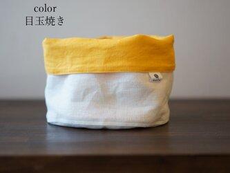 【wafu】リネン 物入れ ツートンカラー キッチン用品 リバーシブル/目玉焼き z002b-dsf2の画像