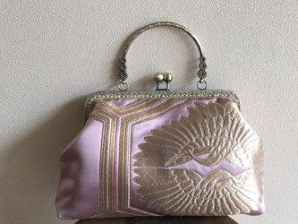 がまぐちバッグ・ピンク×ゴールド 向かい鶴さんの画像
