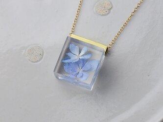 紫陽花(あじさい)のネックレス 14kgf(星花火, レジン, 送料無料)の画像