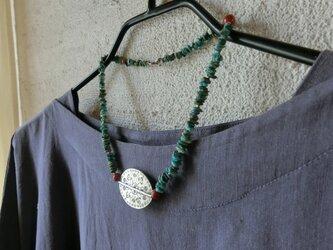 *happy price*ターコイズのカタチ*ネックレス@カレンシルバー +turquoiseさざれ+スポンジ珊瑚の画像