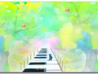 「ねこふんじゃった通り」 ほっこり癒しのイラストポストカード2枚組No.755の画像