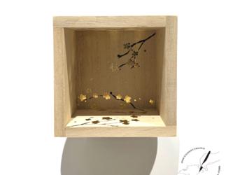 桐の箔押し酒枡 桜の画像