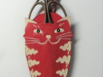 赤 猫のシザーケース★ハサミ付きの画像