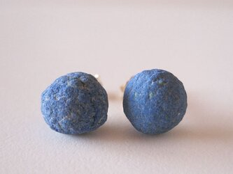アズライトボールの原石ピアス/Russia 14kgfの画像
