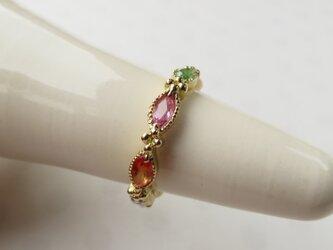 K18  Color Sapphire・Green garnet Pinkie ringの画像