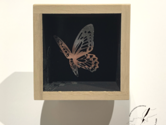 桐の箔押し酒枡 華と蝶の画像